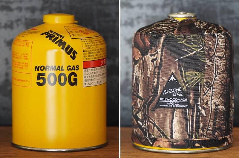 ガス缶カバーの装着前と装着後の比較